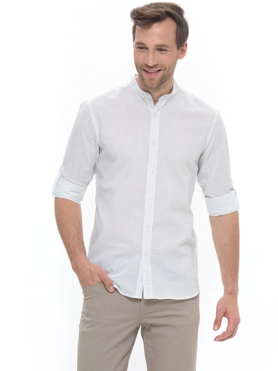 Белая мужская рубашка LC Waikiki / ЛС Вайкики с воротником-стойкой, в черную точку