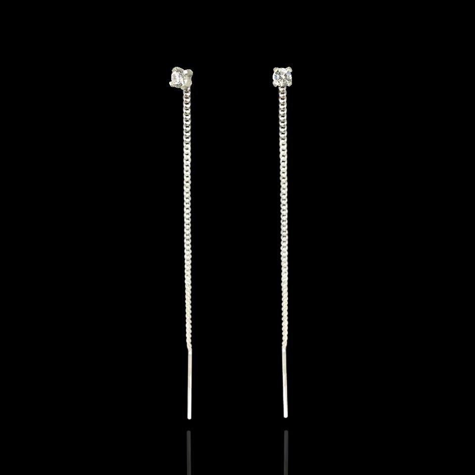 Серебряные серьги протяжки с фианитом