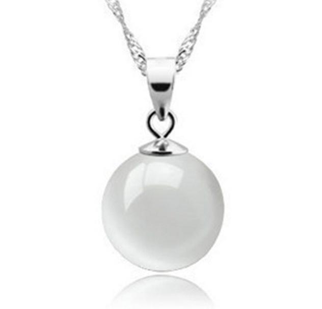 Серебряный кулон шар с натуральным камнем белый опал стерлинговое серебро 925 проба