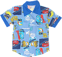Тенниска (рубашка с коротким рукавом) на пуговицах, летняя, хлопок (кулир), ТМ Ромашка, 122, 128, Украина