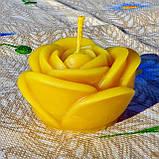 """Восковая свеча """"Бутон розы большой"""" из натурального пчелиного воска, фото 2"""