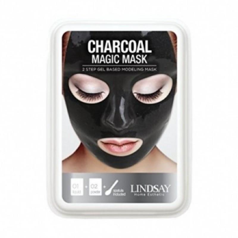Альгінатна маска для обличчя з чорним вугіллям Lindsay Aqua Luxury Black Magic Mask 65+15 мл