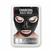 Альгінатна маска для обличчя з чорним вугіллям Lindsay Aqua Luxury Black Magic Mask 65+15 мл, фото 1
