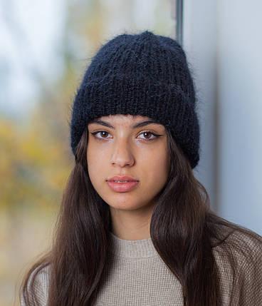 Вязаная шапка черная, фото 2