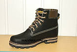 Зимние кожаные ботинки на мальчика 37,38 р арт 1022 черные Sport Stile., фото 7