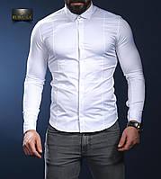 Біла сувора приталені сорочка з класичним коміром