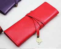 Мягкий чехол, косметичка, пенал, футляр для макияжных кистей, красный цвет
