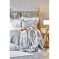 Набор постельное белье с покрывалом + плед Karaca Home - Kaori gri 2020-1 серый евро