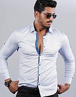Біла приталені сорочка з блакитним дрібним візерунком