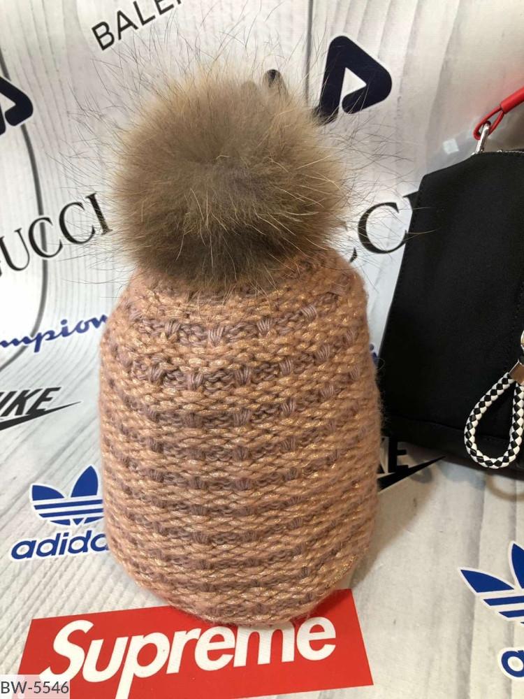 Шапка женская вязаная теплая зимняя с бомбоном много цветов Новинка