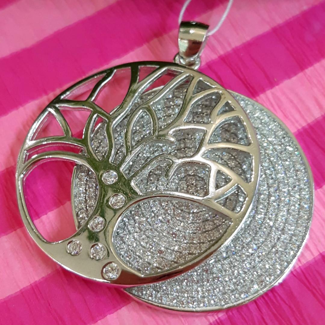 Изумительный серебряный кулон Дерево Жизни - Круглая подвеска Семейное Дерево из серебра