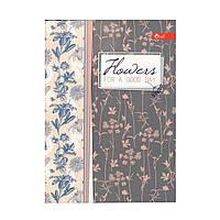 """Скетчбук А5, чёрные листы """"Flowers for a good day"""" ЗК-28"""
