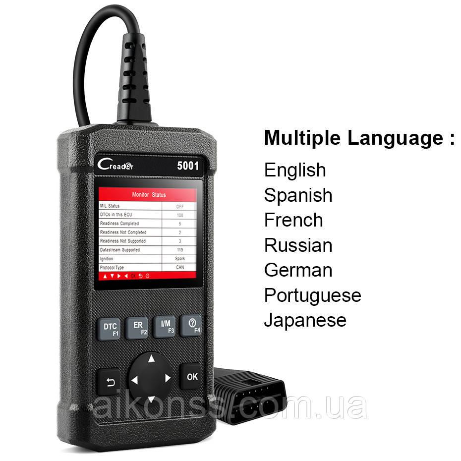 Оригинал X431 LAUNCH Creader 5001 OBD2 CR5001 Автосканер .русский язык  Цветной дисплей . для диагностики авто