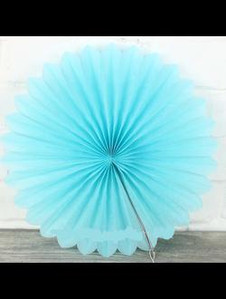 Веер гармошка из папирусной бумаги голубой диаметр 40 см