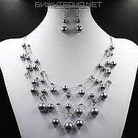 Комплект бижутерии Колье и серьги из искусственного жемчуга серого цвета - 1070316310