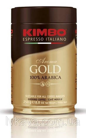 Кофе молотый KIMBO Aroma GOLD 100 % Arabica,  ж\б , 250 гр, фото 2