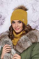 Комплект «Тияна» (шапка и шарф-хомут) (горчичный) Braxton