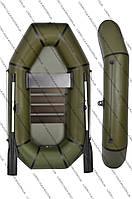 Надувная ПВХ лодка Хаки 245 с днищевой сланью