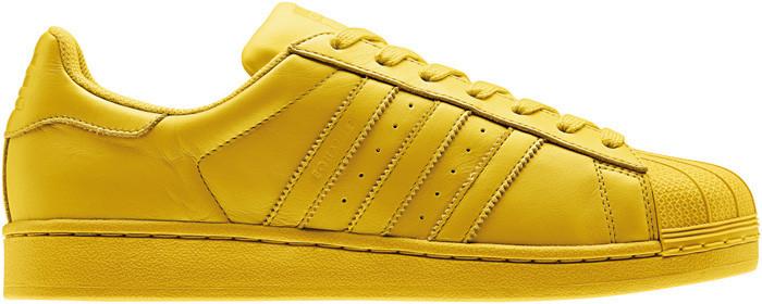 Женские кроссовки Adidas Superstar Pharrell Williams желтого цвета