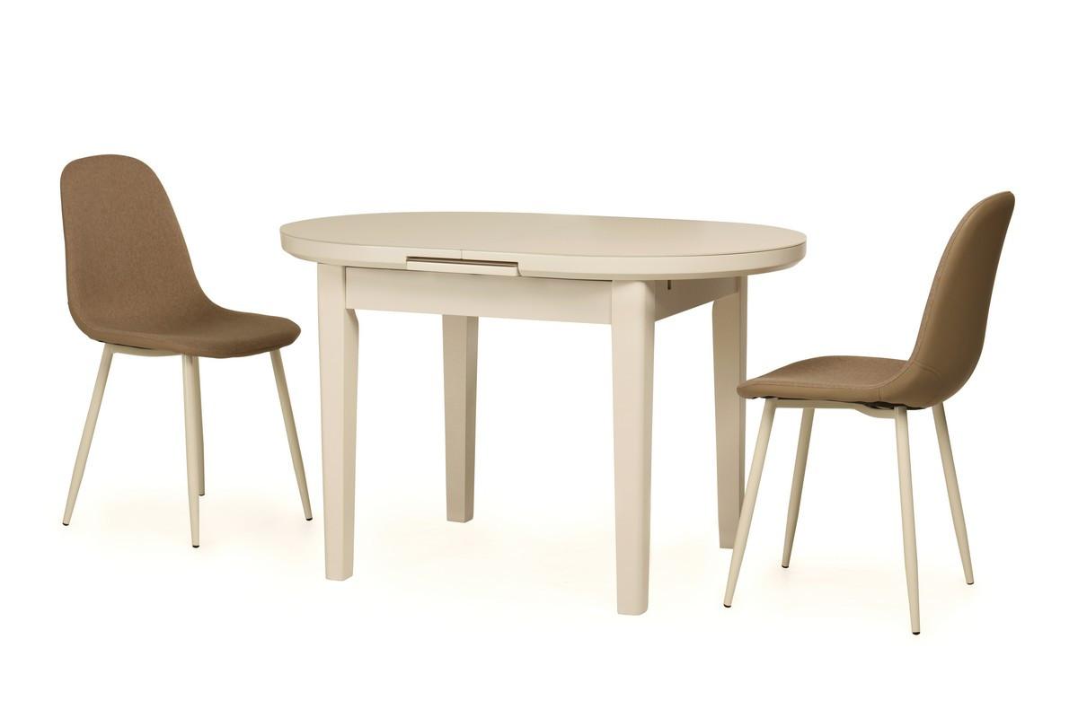Обеденный стол TM-75 молочный, МДФ , раскладной