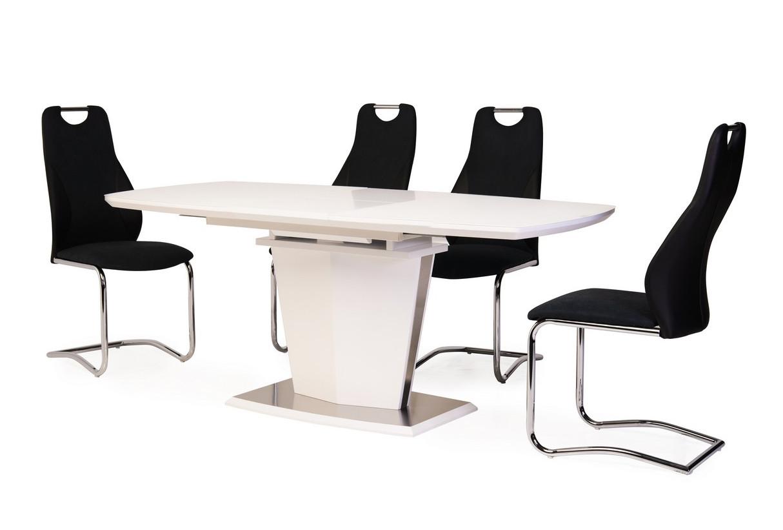 Стол обеденный, раскладной МДФ+матовое стекло TML-700 белый, модерн