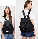 Рюкзак жіночий чорний з кишенями, фото 6