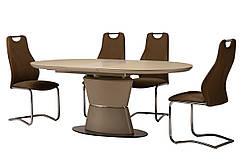 Стіл обідній, розкладний МДФ + матове скло TML-755 капучіно, модерн
