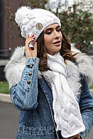 Комплект «Малинуа» (шапка и шарф) (белый) Braxton