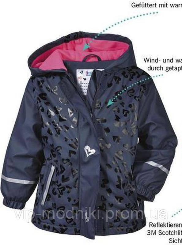 Куртка дождевик на флисе lupilu германия для девочки.