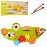 Деревянная игрушка Бизиборд   крокодил, ксилофон, трещотка, лабиринт, MSN17077
