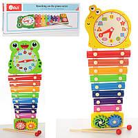 Деревянная игрушка Ксилофон 8 тонов, часы, шестеренки, палочки 2шт, MD2170