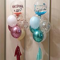 Bubble прозрачный шар с перьями и надписью, 51 см диаметр. Пр-во Qualatex (Америка), фото 1