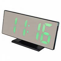 Часы настольные LED 3618L с зеленой подсветкой, черные