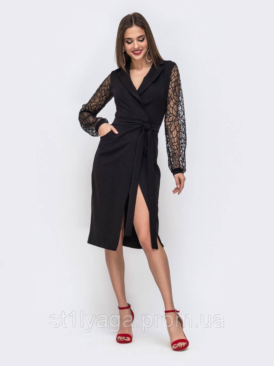Платье-халат приталенного кроя с рукавами из гипюра и поясом в комплекте черный