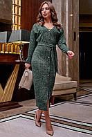 Модное теплое платье миди на пуговицах 42-52 размера зеленое