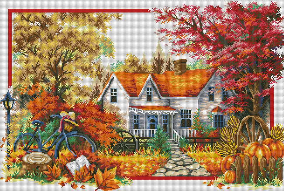 """Алмазная мозаика 82х55см - набор """"Времена года: Осень"""""""