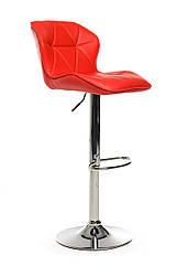Стілець регульований B-70 червоний, сидіння м'яке кожзам, зі спинкою, хром