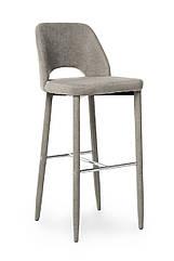Барний стілець м'який B-130, зі спинкою, тканину, колір сірий, метал стильний