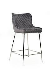 Барний стілець м'який B-12-1, тканину вельвет, колір сірий, ніжки хром