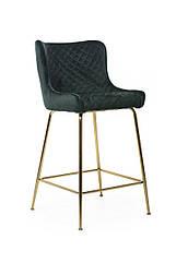 Барний стілець високий, м'який велюр B-120-2 колір смарагд, ніжки золото
