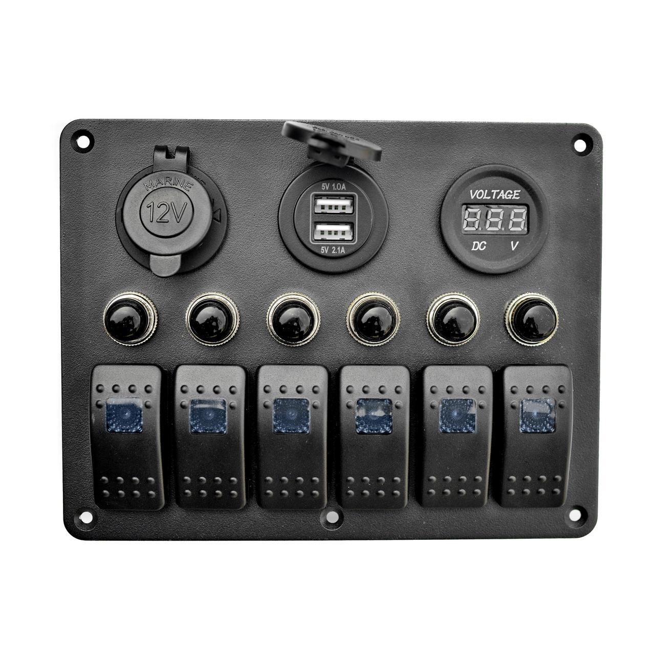 Панель на 6 переключателей автомат 155х115мм+прикуриватель двойной USB порт, вольтметр HF60-106BU