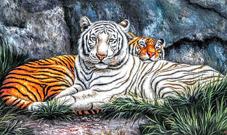 "Алмазная вышивка 50х30см - набор ""Тигры на отдыхе"""
