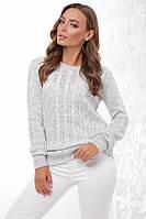 Базовый женский теплый вязаный свитер светло-серый 44 - 50