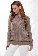 Базовый женский теплый вязаный свитер кофейный 44 - 50