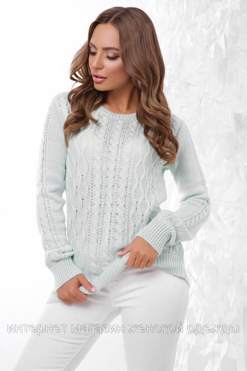Базовый женский теплый вязаный свитер мятный 44 - 50