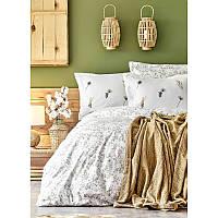 Набор постельное белье с пледом Karaca Home - Mano yesil 2020-1 зеленый евро
