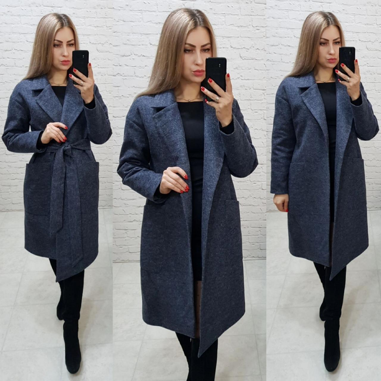 Утеплённое кашемировое пальто на запах с карманами,арт 175, цвет тёмно синий (3)