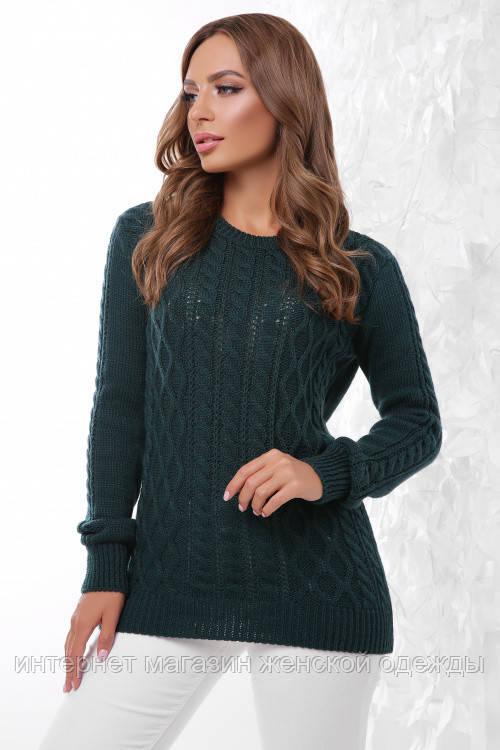Базовый женский теплый вязаный свитер темно-зеленый 44 - 50