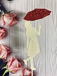 Топпер силуэт девушки с красным зонтиком, девушка с зонтиком на торт, девушка украшение для торта, фото 2