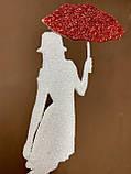 Топпер силуэт девушки с красным зонтиком, девушка с зонтиком на торт, девушка украшение для торта, фото 3